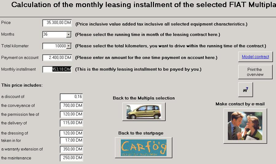 The data base is used for car leasing.
