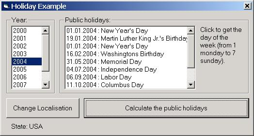 Holiday ActiveX Screen shot